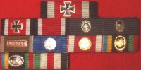 1957 11 Place pinback ribbon bar with Knights Cross